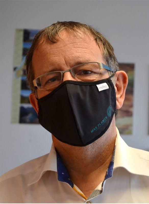Markus Antonietti, a chemist with the Max Planck Institute, poses for a photograph wearing a COVID mask.  Photo courtesy Max Planck Institute.