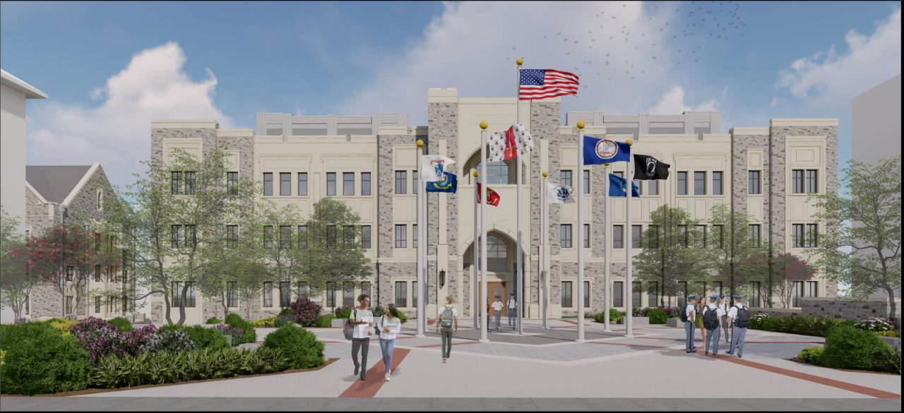 Corps Leadership and Military Science Building exterior rendering.