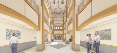 Corps Leadership and Military Science Building interior atrium rendering.
