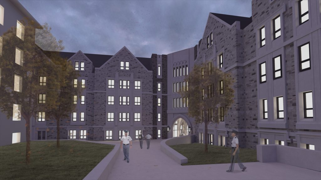 Upper Quad Residence Hall interior courtyard rendering.