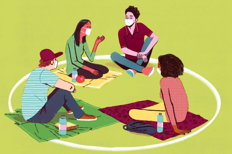 Illustration of students sitting  in a circle and wearing masks.