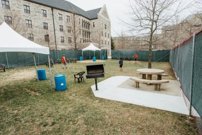 A courtyard between New Hall West and Smith Hall provides a safe outdoor space for students in isolation and quarantine. Photo by Christina Franusich