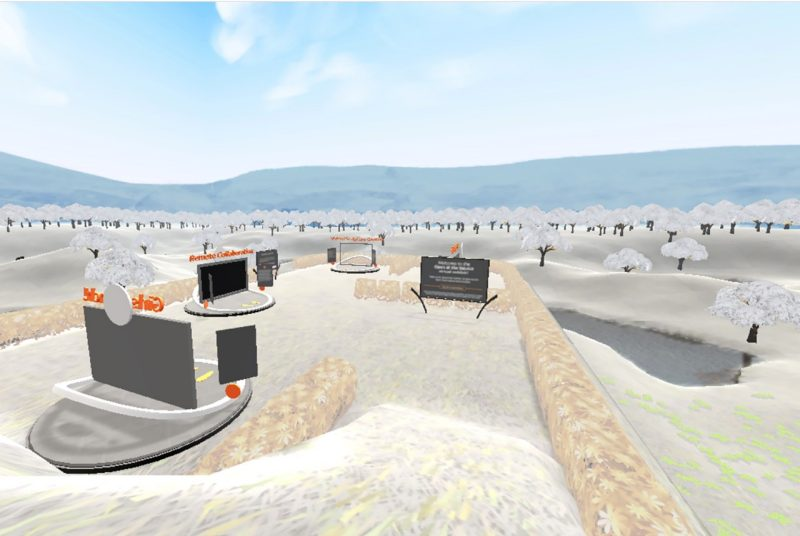 A screenshot of the application Virtual Sculpture Garden shows a series of research projects represented by screens, nestled in a landscape of grass and trees surrounded by blue sky.