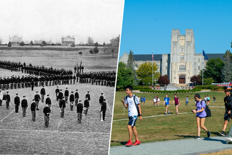 Cadets on the Drillfield, compared to students walking across the Drillfield in 2019. Cadets  photo courtesy of Special Collections and University Archives. The 2019 photo is by Thomas Miller.