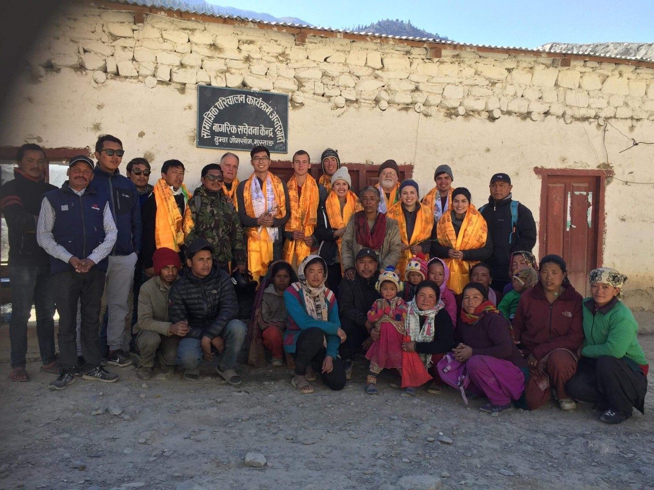 VT's Service Without Borders team (Winter of 2017-18) with villagers of Dhumba. Photo submitted by Mark Shepheard.
