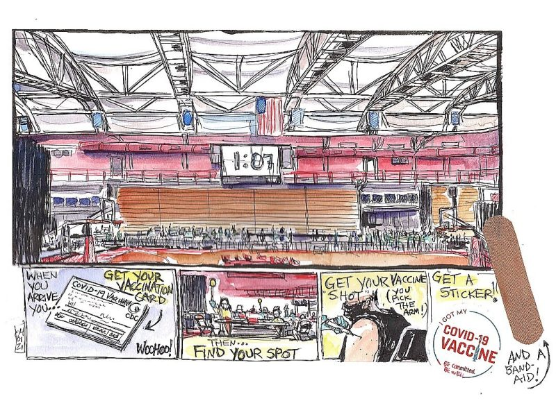 Doodle of vaccination clinic at Dedmon Center by Steven White for Virginia Tech.