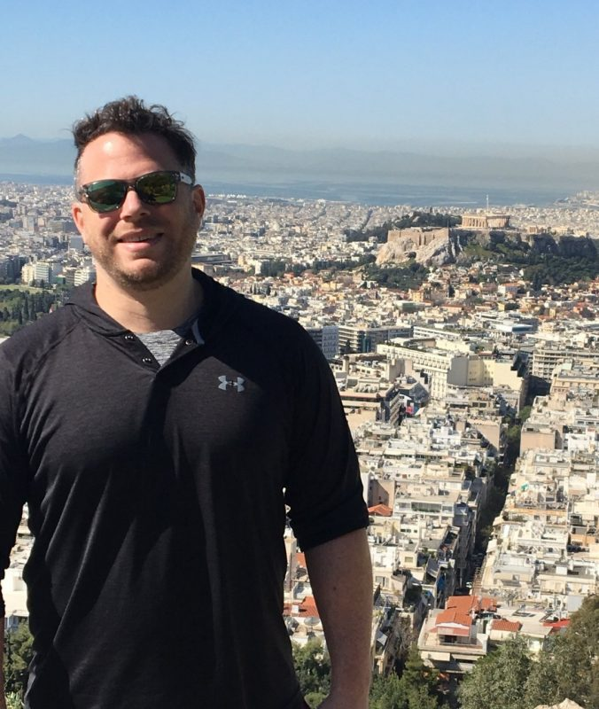 Virginia Tech alumnus and epidemiologist Michael Bazaco — pictured above in 2018 — has made it his mission to use Twitter as a platform for sharing scientifically validated information about the pandemic.  Photo courtesy of Sara Bazaco.