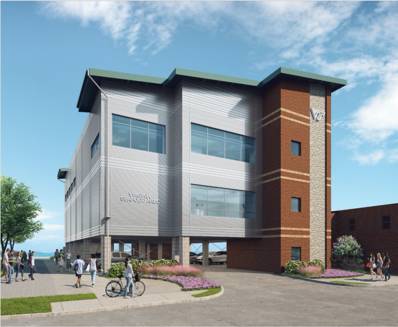 A rendering of the new 21,700-square-foot Virginia Seafood AREC facility