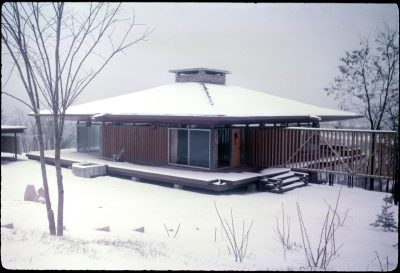 Currie House (Pagoda House), built 1961, is seen surrounded by snow.
