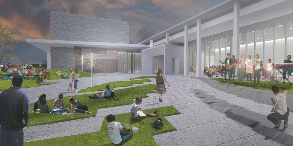 Center for the Arts at Virginia Tech rendering: Courtyard
