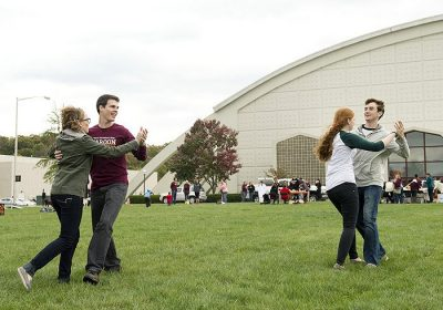 The Ballroom Dance Club gives a demonstration on Dietrick Lawn during a community pizza party.