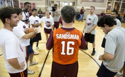 President Timothy Sands played pick-up basketball with students, faculty, and staff in McComas Gym.