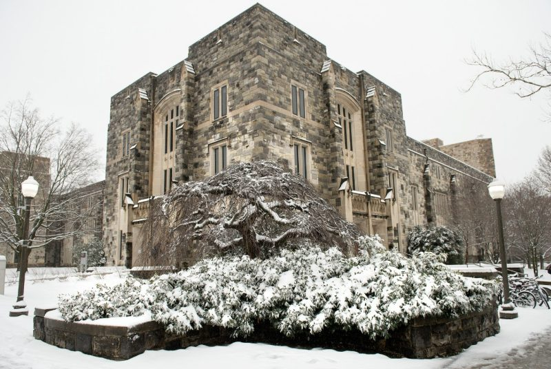 Newman Library in snow
